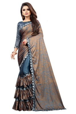 Grey woven lycra saree with blouse