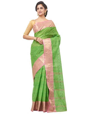 green Handloom Taant Pure Cotton Saree Without Blouse Piece