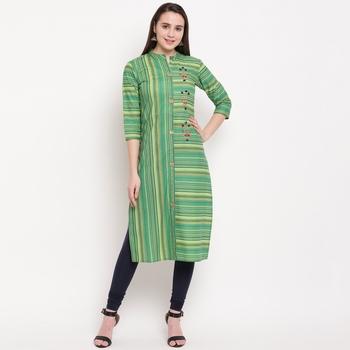 women's hand work/Printed straight rayon green kurti