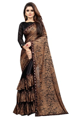 Black woven lycra saree with blouse