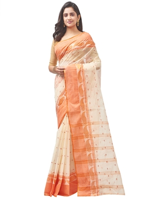 beige Handloom Taant Pure Cotton Saree Without Blouse Piece