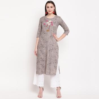 women's hand work/Printed straight rayon grey kurti