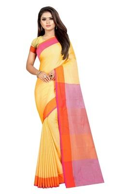 Yellow plain cotton saree with blouse