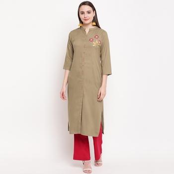 women's hand work/Printed straight rayon beige kurti