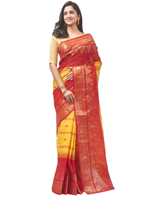 yellow Handloom Taant Pure Cotton Saree Without Blouse Piece