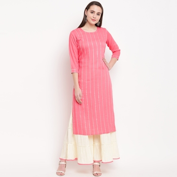 women's striped straight rayon light pink kurti with sharara set
