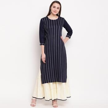 women's striped straight rayon blue kurti with sharara set