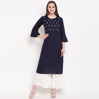women's embellished/solid straight rayon blue kurti with sharara set
