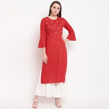 women's embellished/solid straight rayon red kurti with sharara set