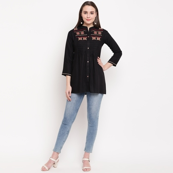 women's embroidered short rayon black tunic