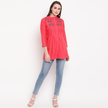 women's embroidered short rayon pink tunic