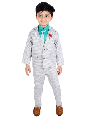 Green printed cotton silk boys-suit