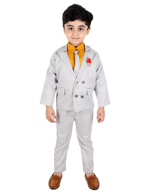 Yellow printed cotton silk boys-suit