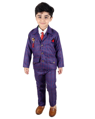 Blue printed cotton silk boys-suit