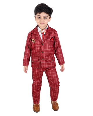 Maroon printed cotton silk boys-suit