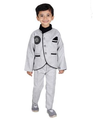 Grey printed cotton silk boys-suit