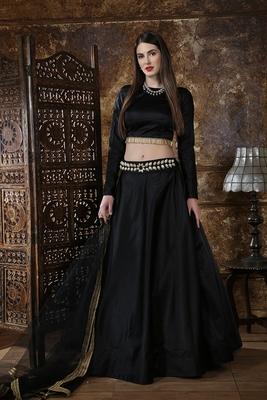 Black plain satin semi stitched lehenga