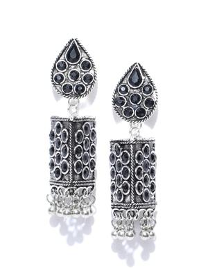 Infuzze Oxidised Silver-Toned & Black Tribal Drop Earrings