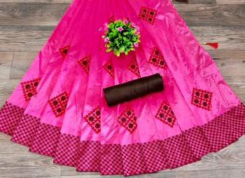 women pink embroidered silk blend saree with blouse