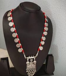 Red Stone & Coin Interlaced German Silver Necklace