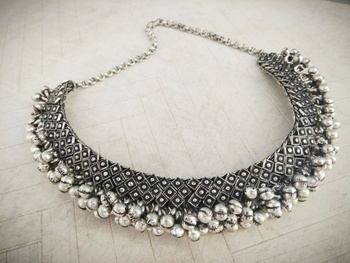 German Silver Antique Finish Stylish Contemporary Choker