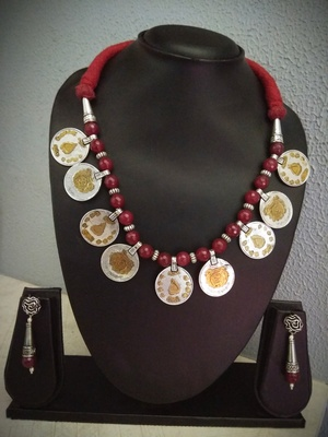Tribal Beaded Coin Necklace