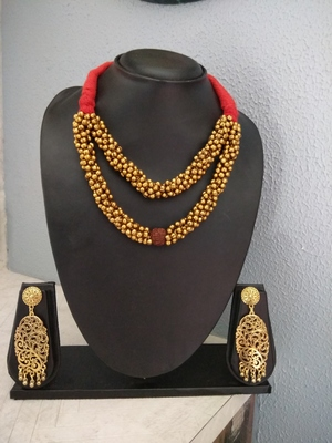 Red Tassle Rudraksh Banjara Necklace Set