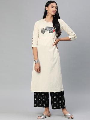 Off-white embroidered khadi salwar