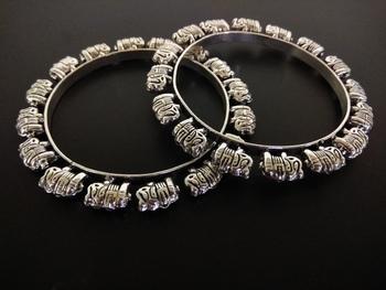 elephant charm german silver bangle set