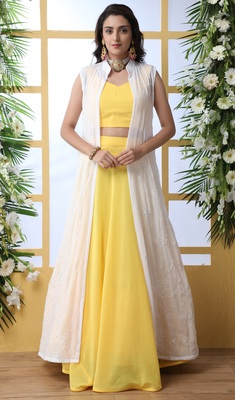 Yellow Thread With Sequince Embroidered Georgette Semi Stitched Lehenga Choli With Koti