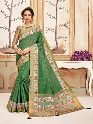 Green Cotton Checks Printed Designer Saree