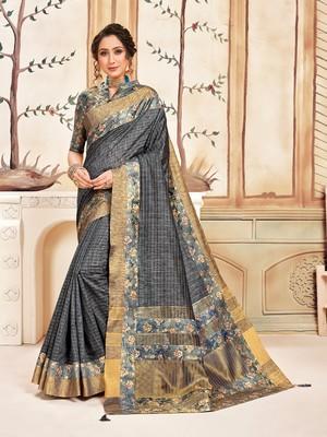 Grey Cotton Checks Printed Designer Saree