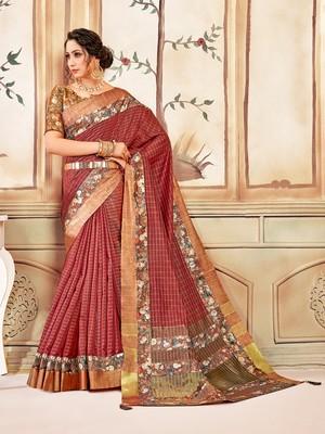 Red Cotton Checks Printed Designer Saree