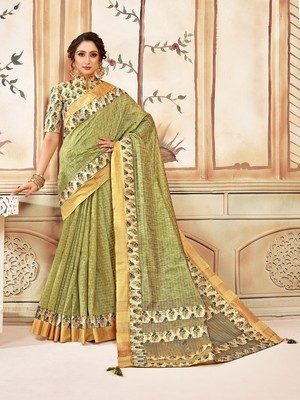 Green Cotton Checks Printed Designer Saree