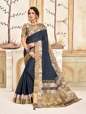Navy Blue Cotton Checks Printed Designer Saree