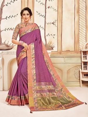 Pink Cotton Checks Printed Designer Saree