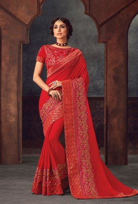Red Poly Silk Heavy Embroidered Work Designer Saree