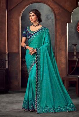 Green Poly Silk Heavy Embroidered Work Designer Saree