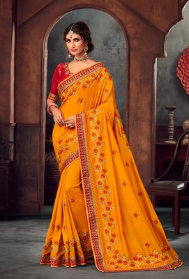 Mustard Poly Silk Heavy Embroidered Work Designer Saree