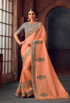 Peach Poly Silk Heavy Embroidered Work Designer Saree