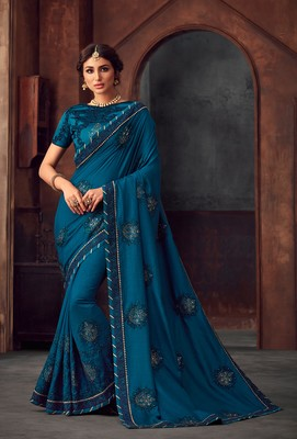 Blue Poly Silk Heavy Embroidered Work Designer Saree