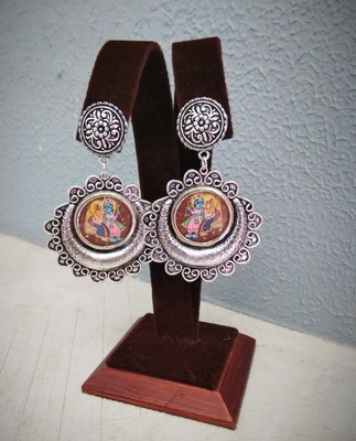 Radha krishna Photo frame earring design