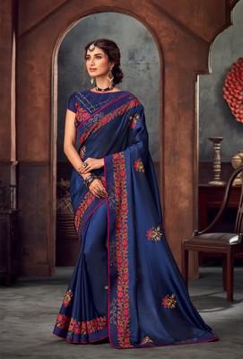 Blue Poly Silk Heavy Embroidered Work Designer Saree