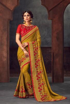 Yellow Poly Silk Heavy Embroidered Work Designer Saree