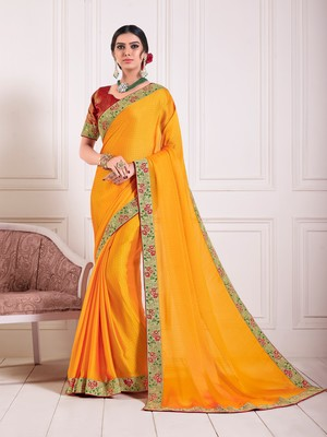 Yellow Chiffon Embroidered lace Fancy Designer Saree