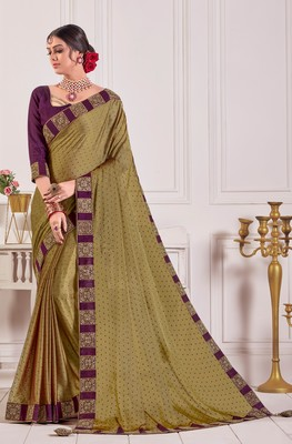Olive Chiffon Embroidered lace Fancy Designer Saree