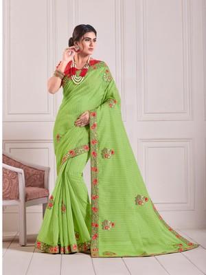 Green Cotton Embroidered Fancy Designer Saree