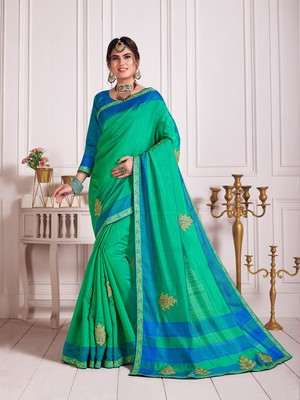 Green Poly Silk Embroidered Fancy Designer Saree