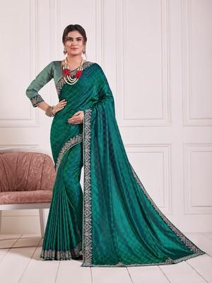 Green Poly Silk Embroidered Fancy Designer Saree
