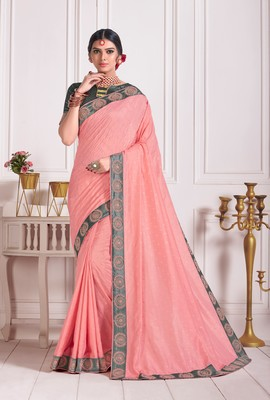 Pink Poly Silk Embroidered Fancy Designer Saree